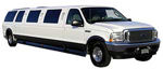 Chauffeur stretched white Ford Excursion 4x4 limo hire in Glasgow, Edinburgh, Scotland