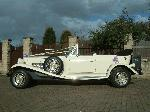 Chauffeur driven white Beauford wedding car in Yorkshire, Sheffield, Doncaster, Rotherham, Nottingham,  Nottinghamshire, Derby, Leeds, Bradford, Huddersfield and York.