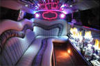 Chauffeur stretch Chrysler C300 Baby Bentley limousine hire interior in Nottingham, Derby, Leicester, Birmingham, Nottinghamshire, Derbyshire, Midlands.