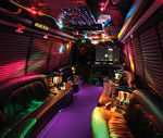 Chauffeur driven Limo Coach limousine hire interior in UK